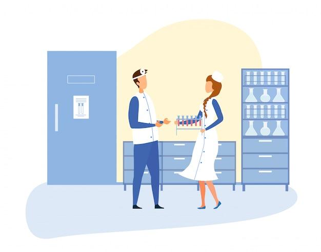 Interiores do laboratório científico e equipe médica Vetor Premium