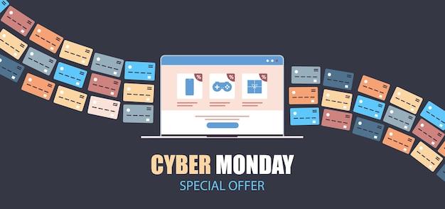 Internet banking cartões de crédito para compras on-line pagamento venda cibernética descontos em feriados e conceito de e-commerce Vetor Premium