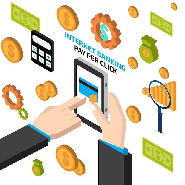 Internet banking com mão tocando tablet Vetor Premium