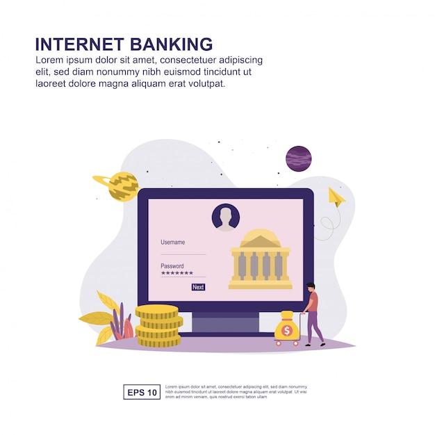 Internet banking conceito design plano para apresentação. Vetor Premium