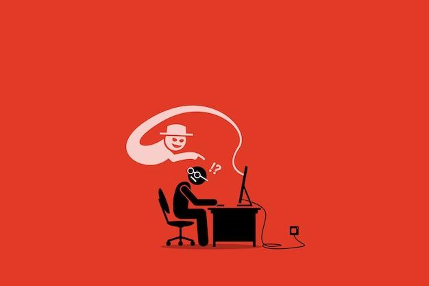 Internet cyber scammer tentando enganar um usuário da internet. Vetor Premium