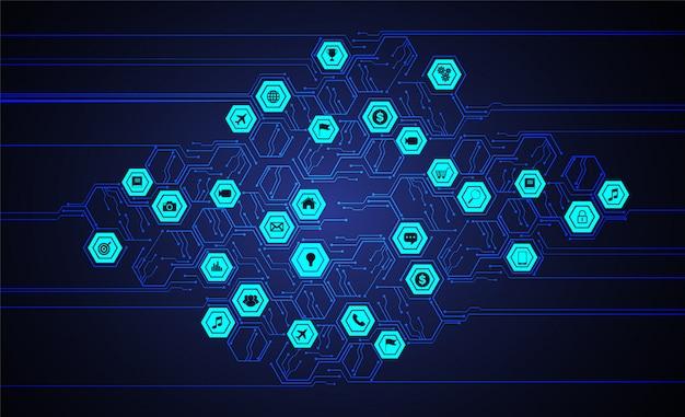 Internet das coisas cyber tecnologia circuito Vetor Premium
