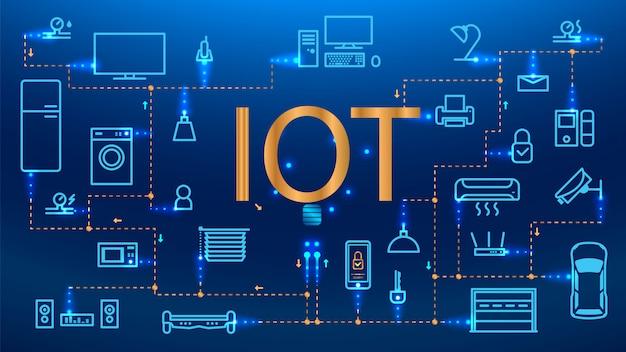 Internet das coisas (iot), dispositivos e conceitos de conectividade em uma rede Vetor Premium