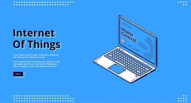 Internet das coisas isométrica web banner Vetor grátis