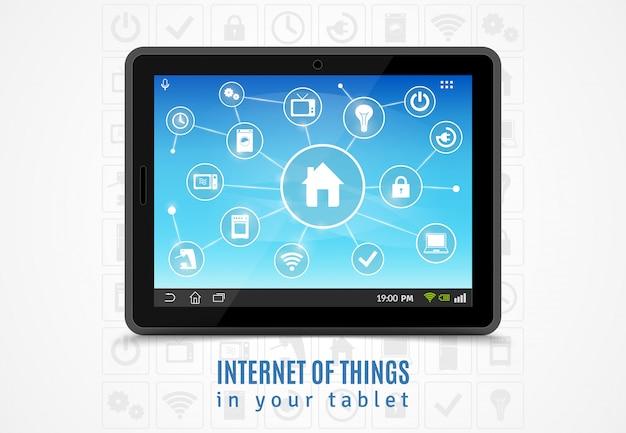 Internet das coisas tablet Vetor grátis