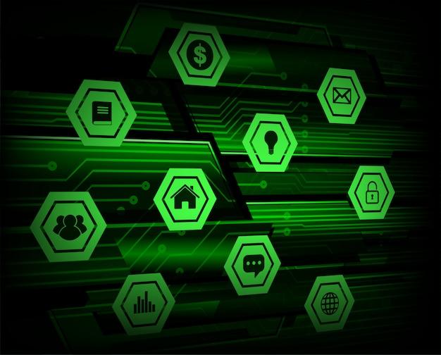 Internet das coisas tecnologia cibernética Vetor Premium