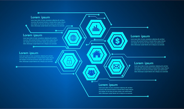 Internet das coisas tecnologia de circuito cibernético Vetor Premium