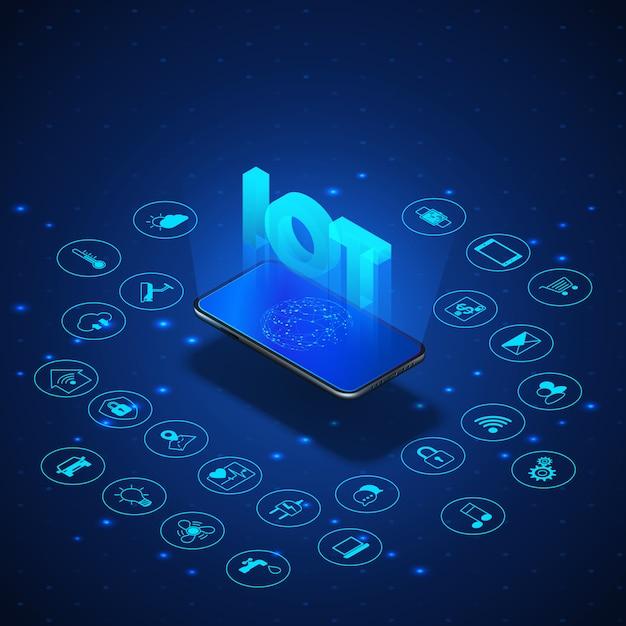 Internet do conceito de coisas. muito isométrica bandeira. ecossistema global digital. monitoramento e controle por smartphone. bacoground de tecnologia azul. ilustração Vetor Premium