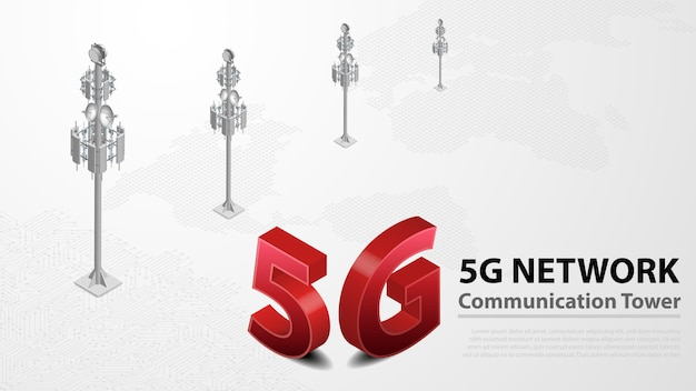 Internet hispeed sem fio da torre de comunicação 5g com data center Vetor Premium