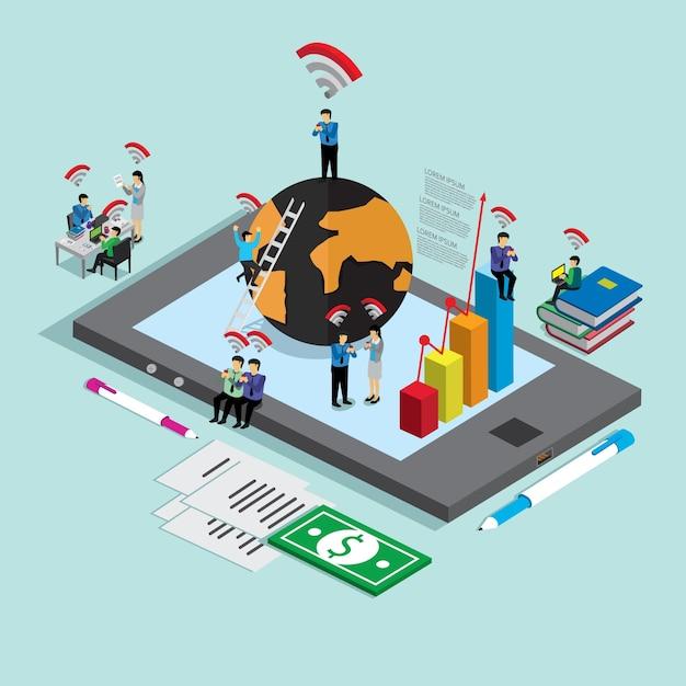 Internet para pessoas de negócios Vetor Premium