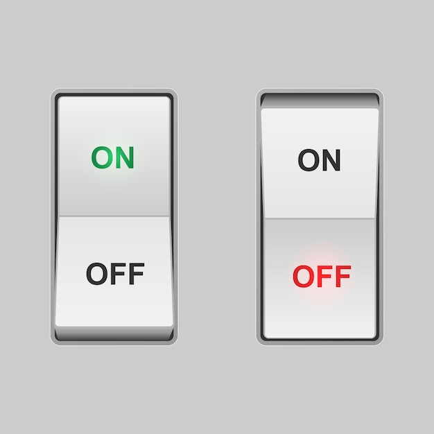 Interruptor de alavanca realista. posições de ligar e desligar Vetor Premium