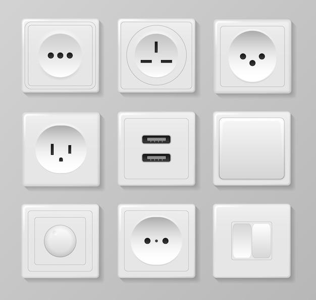 Interruptor e tomadas de parede retangulares e redondas quadradas brancas. a eletricidade da tomada elétrica desliga e liga imagens realistas. conjunto de diferentes tipos de interruptores. . Vetor Premium