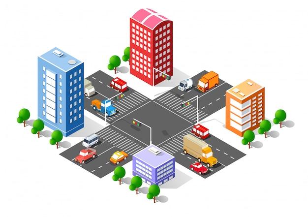 Interseção 3d isométrica da cidade Vetor Premium