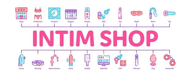Intim shop sex toys mínima infográfico banner Vetor Premium