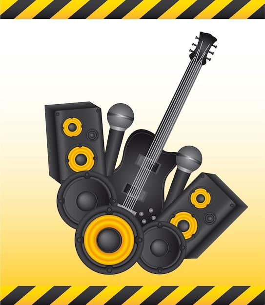 Intruments amarelo e preto com ilustração vetorial de quadro Vetor Premium