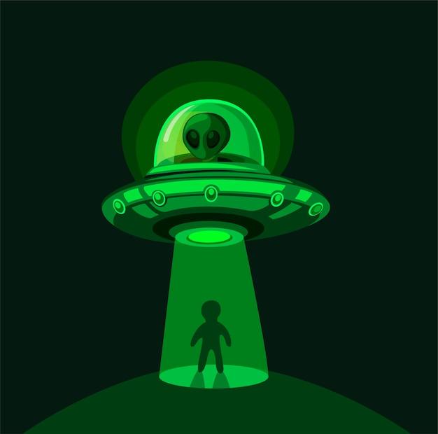 Invasão alienígena na terra. rapto de ovni a voar com feixe de luz no conceito de cena noturna na ilustração dos desenhos animados em quadrinhos Vetor Premium