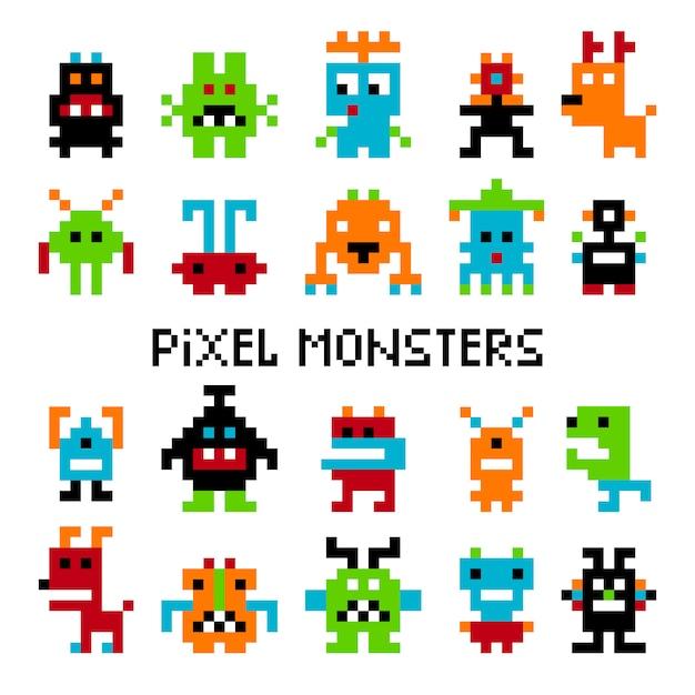 Invasores de pixel Vetor Premium
