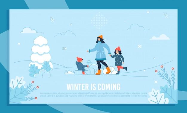 Inverno chegando texto banner com mãe feliz e filhos Vetor Premium