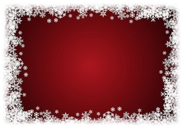Inverno de fundo vector. um natal frio. moldura feita de neve e cristais de gelo Vetor Premium