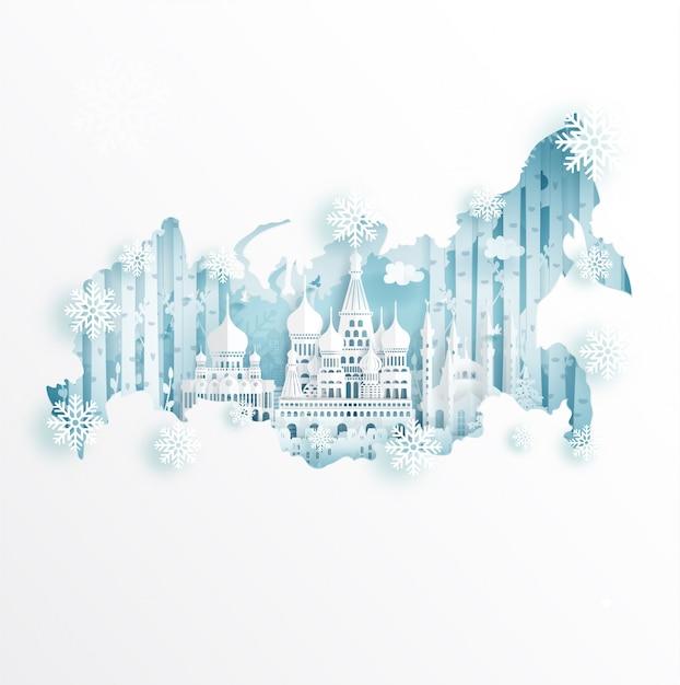 Inverno em moscou, rússia para viagens e turismo conceito de publicidade Vetor Premium
