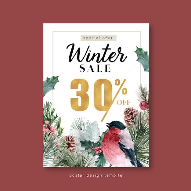 Inverno floral florescendo cartaz, cartão postal elegante para decoração vintage lindo Vetor grátis