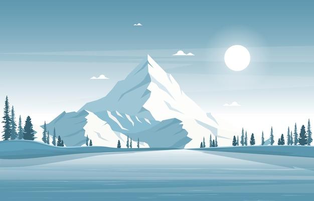 Inverno neve pinho montanha calma natureza paisagem ilustração Vetor Premium