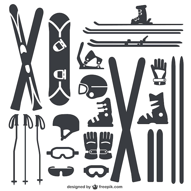 Inverno pacote de equipamentos esportivos Vetor grátis