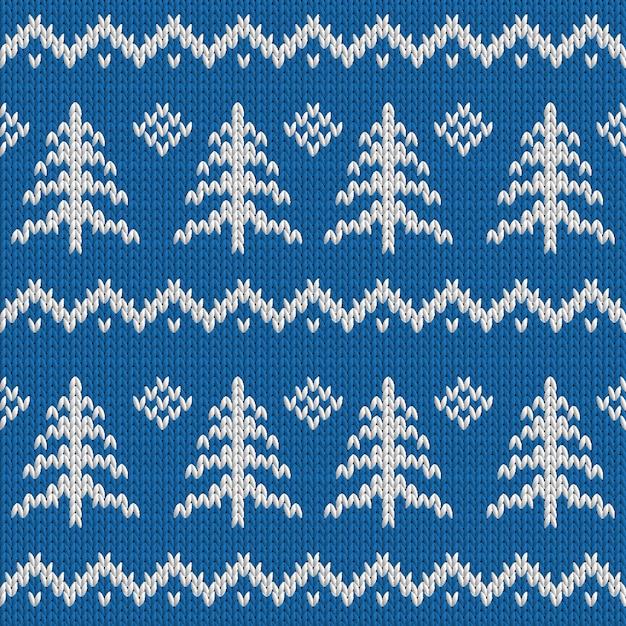 Inverno sem costura de malha azul padrão com árvore de natal Vetor Premium