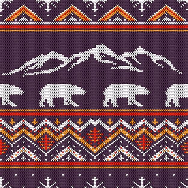 Inverno, tricotado, padrão lã, com, polar, ursos, e, snow-capped, montanhas Vetor Premium