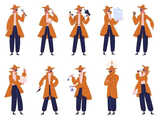 Investigador particular. detetive masculino em pose de ação diferente, o inspetor de polícia investiga o crime. conjunto de personagens de detetive. pose de detetive, homem de caráter de investigador particular Vetor Premium