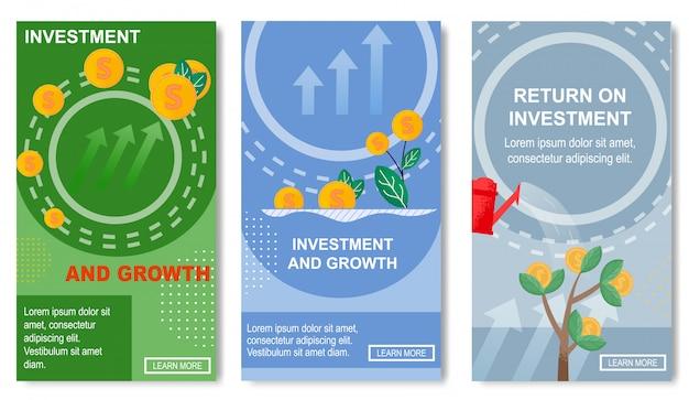Investimento e crescimento, retorno para mídias sociais. Vetor Premium