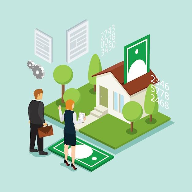 Investimento em casa e crédito com isométrica Vetor Premium