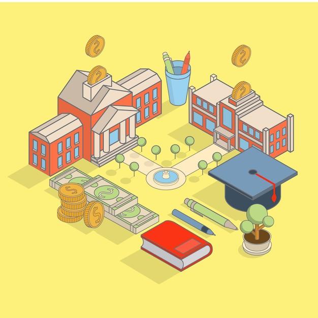 Investimento, em, conceito educação, vetorial, isometric apartamento, ilustração, com, edifício escola, Vetor Premium