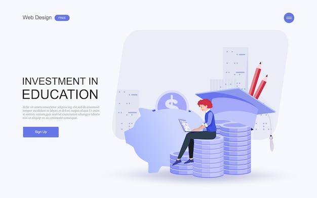 Investimento em conhecimento, empréstimos, bolsas de estudo, poupança para estudo. Vetor Premium