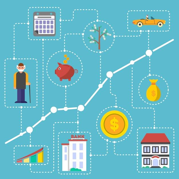 Investimento em infográficos de velhice em design plano Vetor Premium