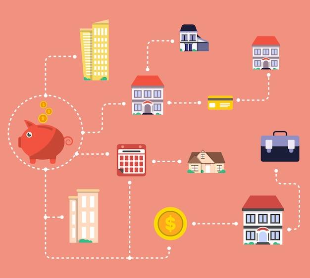 Investimento em infográficos imobiliários Vetor Premium