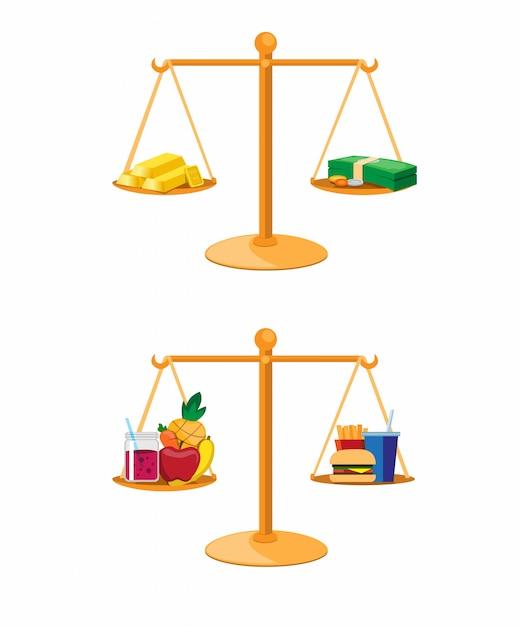 Investimento financeiro e alimentação saudável na coleção de comparação de equilíbrio conjunto ilustração vector Vetor Premium
