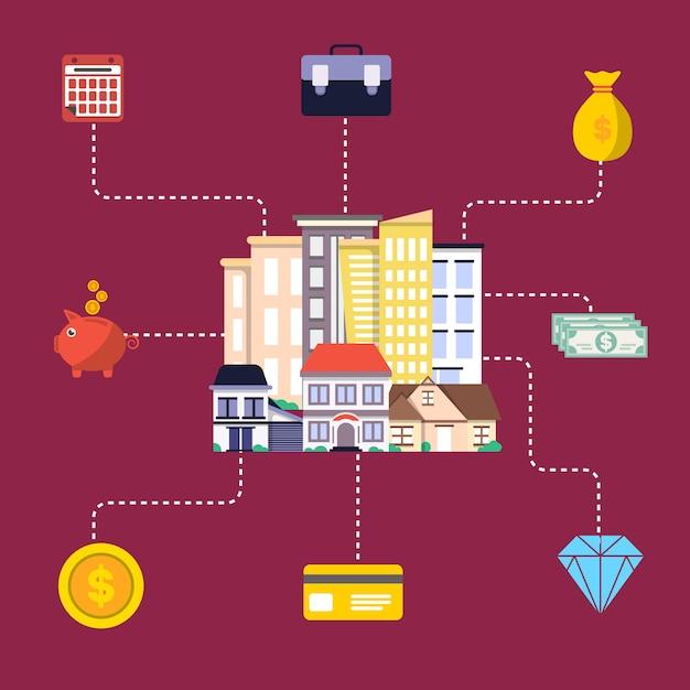 Investimento no conceito imobiliário em design plano Vetor Premium