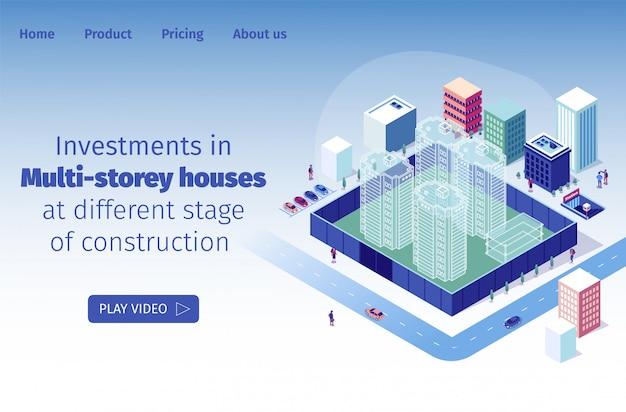 Investimentos em casas de vários andares em diferentes estágios de construção Vetor Premium
