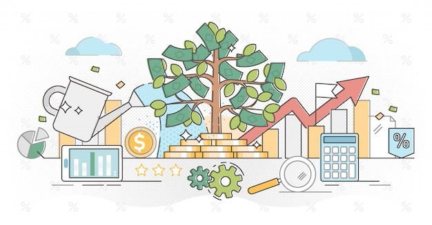Investir dinheiro contorno conceito ilustração Vetor Premium