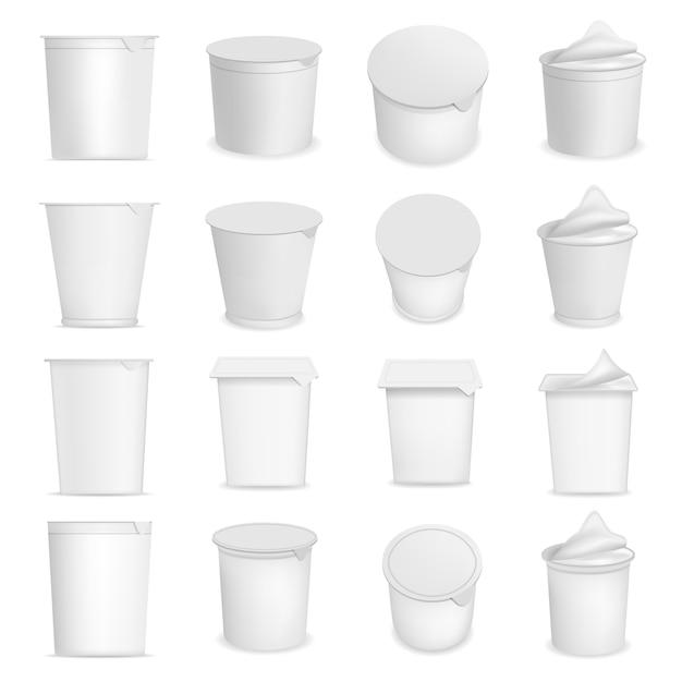 Iogurte copo caixa sobremesa embalagem maquete definido. ilustração realista de 16 modelos de embalagens de sobremesa de caixa iogurte xícara para web Vetor Premium