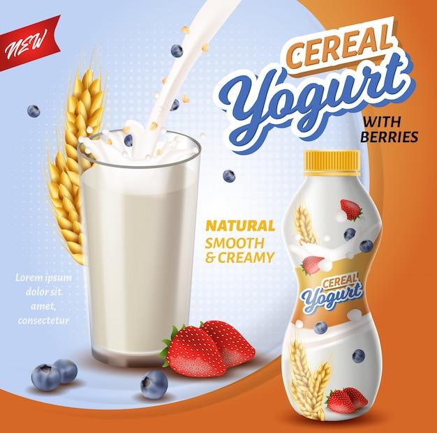Iogurte de cereais com frutas. Vetor Premium