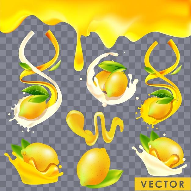 Iogurte de limão realista e salpicos de suco Vetor Premium