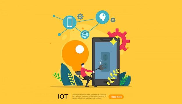 Iot conceito de monitoramento de casa inteligente Vetor Premium