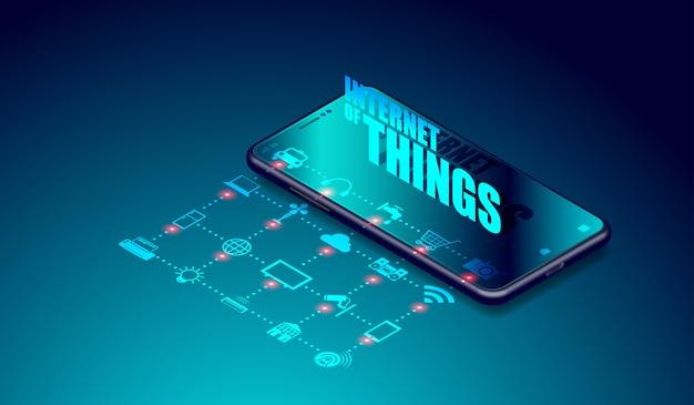 Iot internet de coisas em aplicativos de smartphones Vetor Premium