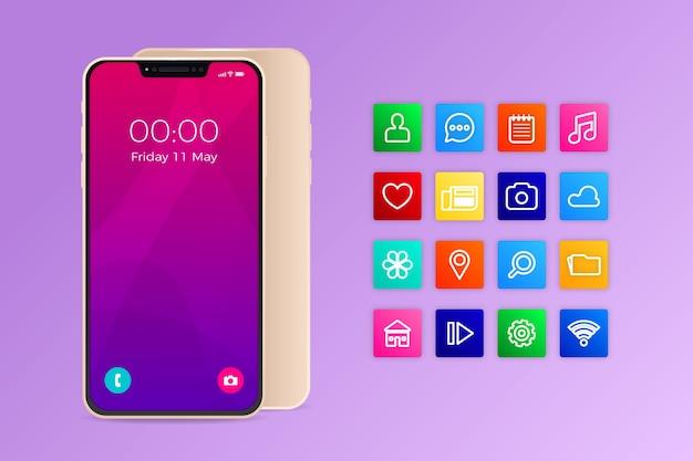 Iphone 11 realista com aplicativos em tons de violeta degradê Vetor grátis