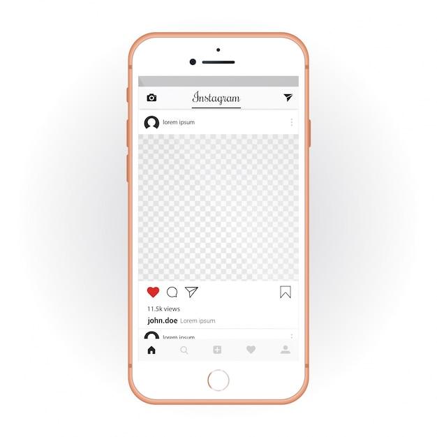 Iphone com kit de ui móvel instagram. mockup de smartphone e aplicativo de bate-papo Vetor grátis