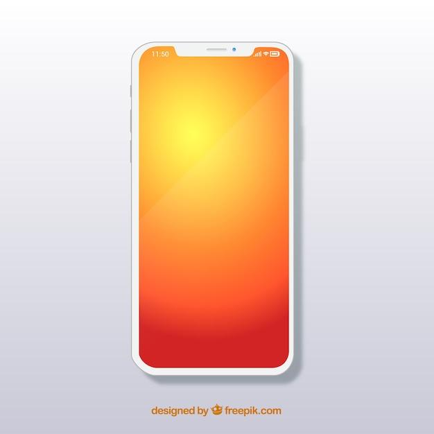 Iphone x com papel de parede gradiente Vetor grátis