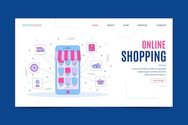 Ir para a página de destino das compras on-line Vetor grátis