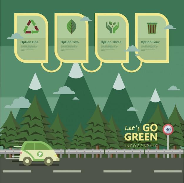Ir promoção verde Vetor Premium